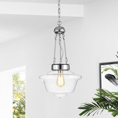 Skothy 1-light Chrome Pendant Lamp with Glass Shade