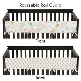 Sweet Jojo Designs Blush Pink Mint Gold Watercolor Rose Polka Dot Butterfly Floral Collection Long Crib Rail Guard Cover