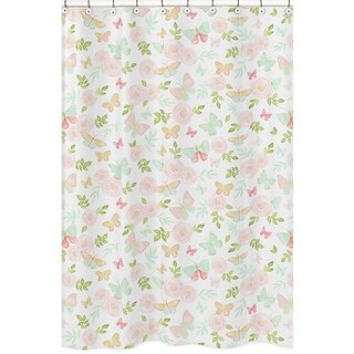 Sweet Jojo Designs Blush Pink Mint White Watercolor Rose Butterfly Floral Collection Bathroom Fabric Bath Shower Curtain