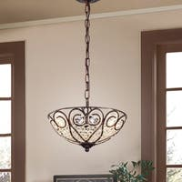 Ceslee 3-light Rustic Bronze Pendant Lamp with Heart Scroll Crystal Shade