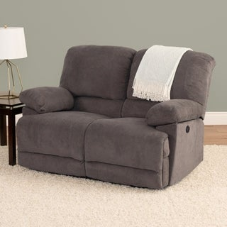 Chenille Fabric Power Reclining Loveseat With USB Port