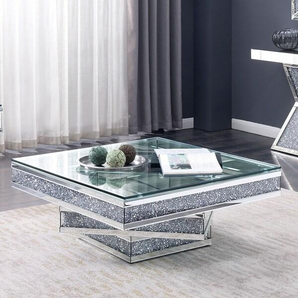 da8a797f Shop Aarika Contemporary Silver Mirrored Coffee Table by FOA - Free ...