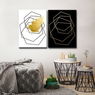Ready2HangArt 'Gilt Mod III/IIIB' 2-Piece Wrapped Canvas Wall Décor Set - Black and white