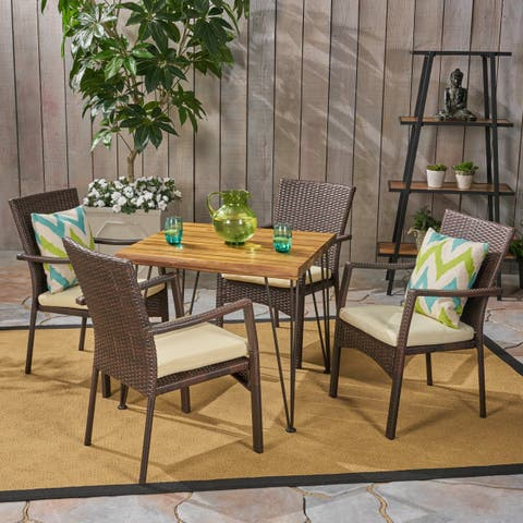 Tatum Outdoor Industrial Wood and Wicker 5 Piece Square Dining Set by Christopher Knight Home