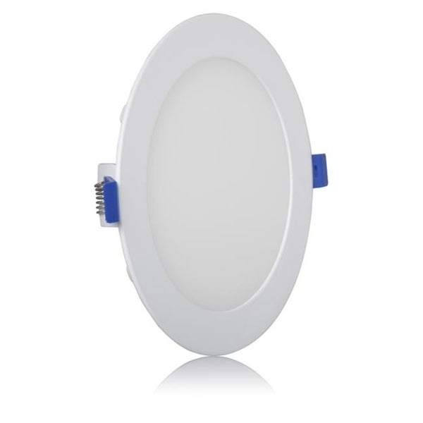 650 Lumens Dimmable Slim Round LED Downlight Maxxima 4 in Flat Panel Light Fixture Warm White 2700K Junction Box Included. 10 Watt Recessed Retrofit