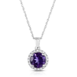 10K White Gold Genuine Round Amethyst Pendant with White Topaz Accents