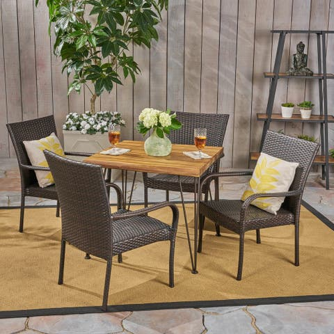Walker Outdoor Industrial Wood and Wicker 5 Piece Square Dining Set by Christopher Knight Home