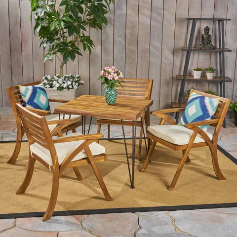 Blaine Outdoor Industrial Wood and Wicker 5 Piece Square Dining Set by Christopher Knight Home