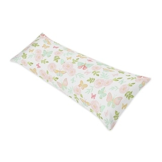 Sweet Jojo Designs Blush Pink Mint Watercolor Rose Butterfly Floral Collection Body Pillow Case (Pillow Not Included)