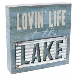 """Decorative Wooden Signs Lovin Life at the Lake 8"""" x 8"""" x 1.5"""" - Blue"""