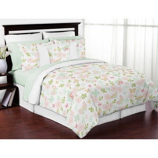 Sweet Jojo Designs Blush Pink, Mint, White Shabby Chic Butterfly Floral Collection Girl 3pc Full / Queen Comforter Set