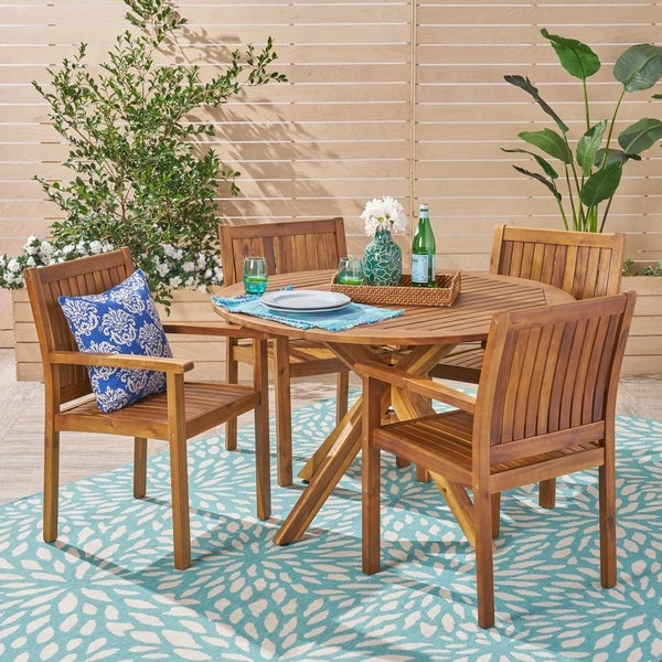 Karen Outdoor Five Piece Acacia Dining Set by Christopher Knight Home