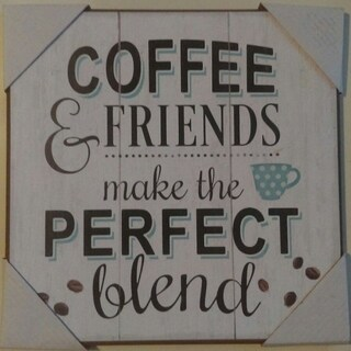 """Decorative Wooden Signs Coffee & Freinds 10"""" x 10"""" - Black"""