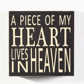 """A Piece Of My Heart Lives in Heaven Wood Box Sign 5.75"""" x 5.75"""" x 1.5"""" - Black"""