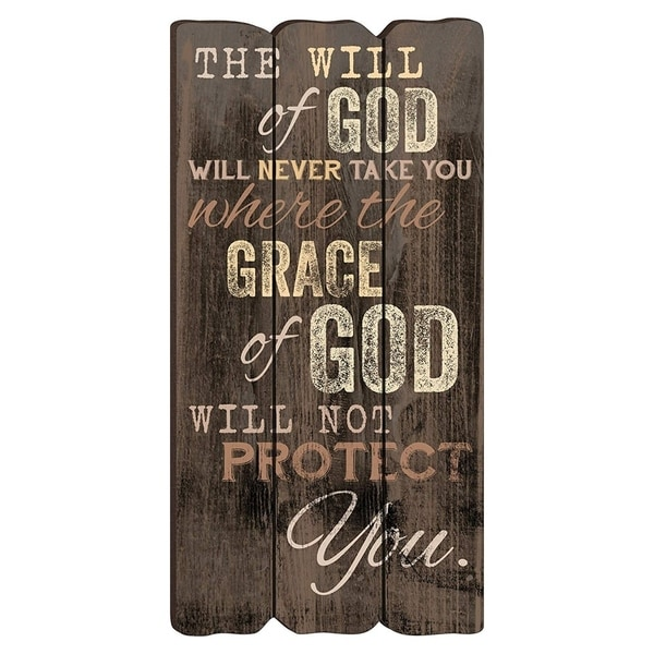 "The Will of God Wooden Wall Art 12"" x 6"" x 0.25"" - Brown"