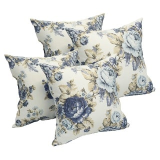 Blue Rose Garden 17-inch Accent Throw Pillow (Set of 4)