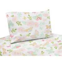 Sweet Jojo Designs Blush Pink, Mint and White Watercolor Rose Butterfly Floral Collection 4-piece Queen Sheet Set
