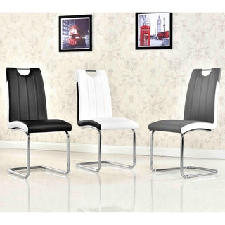 Best Master Furniture Modern Two-Tone Faux Leather, Wood, and Chrome Upholstered Side Chairs (Set of 2)