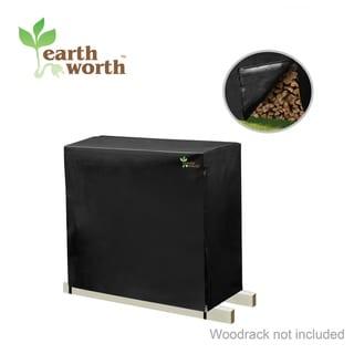 Earth Worth Firewood Log Rack Cover 4 ft Black