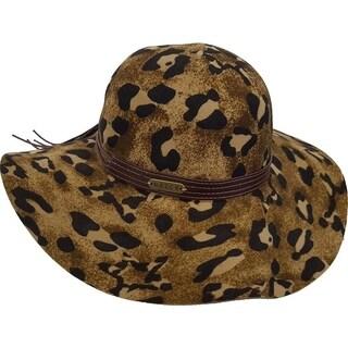 Cheetah Floppy Wide Brim Fall Winter Women's Hat 100 percent Wool Felt