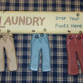 "Laundry Room Wood Sign Drop Your Pants Here Rustic Country 8"" x 5"" x1"" - Red"
