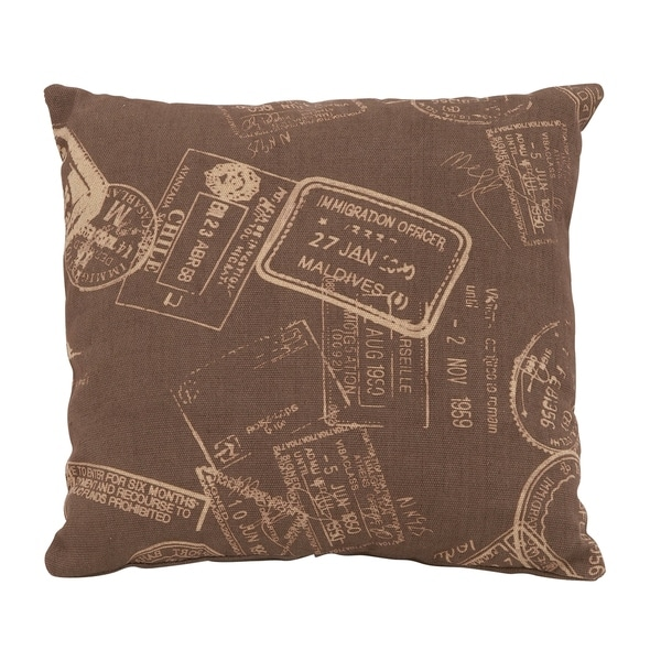Unique And Fun Paris Passport Themed Pillow With Brown Fabric