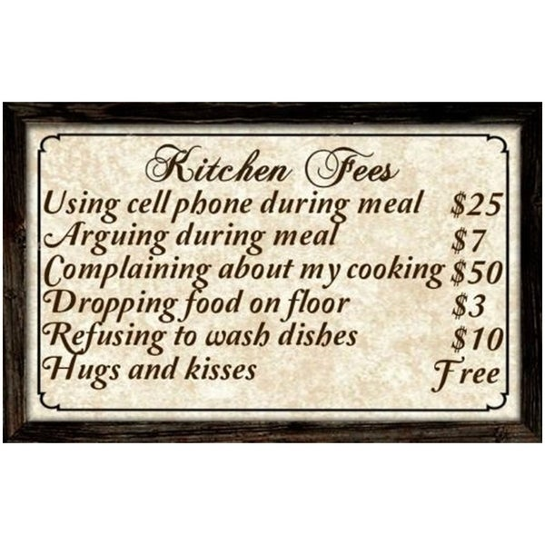 Shop Decorative Wooden Signs Kitchen Fees 4040 X 4040 Brown Beauteous Decorative Kitchen Signs