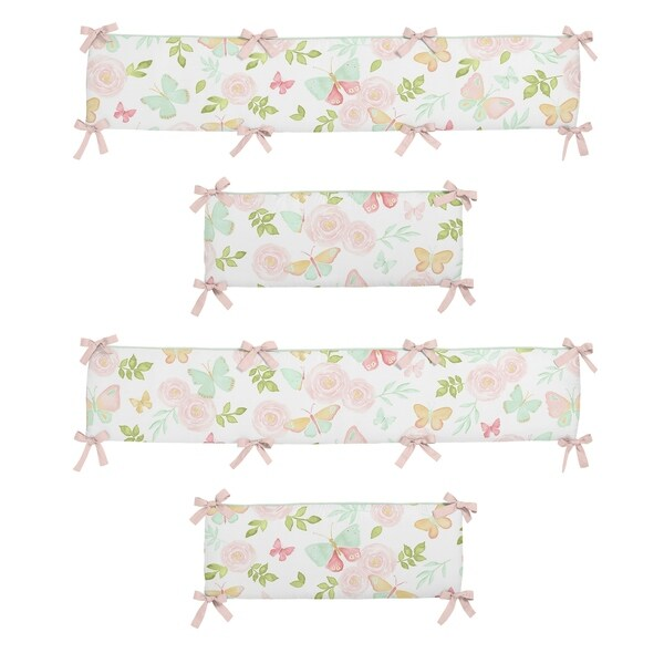 Sweet Jojo Designs Blush Pink, Mint and White Watercolor Rose Butterfly Floral Collection Baby Crib Bumper Pad