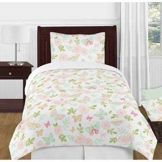 Sweet Jojo Designs Blush Pink, Mint, White Shabby Chic Butterfly Floral Collection Girl 4-piece Twin-size Comforter Set