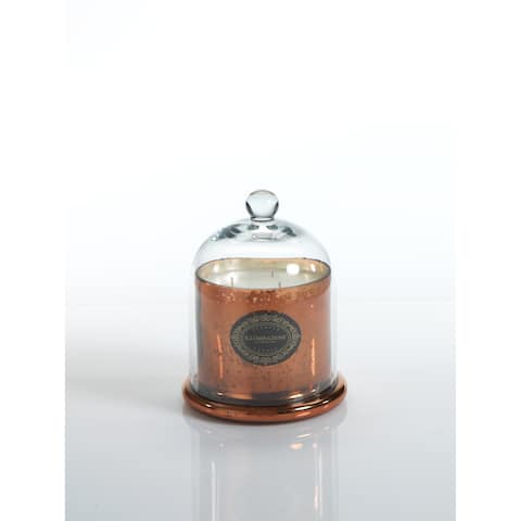 """6.5"""" Tall Medium Candle Jar with Glass Dome, Italian Citron Fragrance, Antique Copper"""