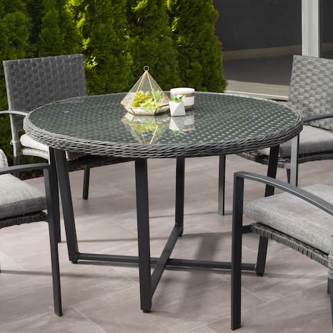 Parkview Patio Dining Table with Glass Inset Table Top