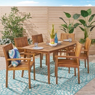 Karen Outdoor 7 Piece Acacia Dining Set by Christopher Knight Home