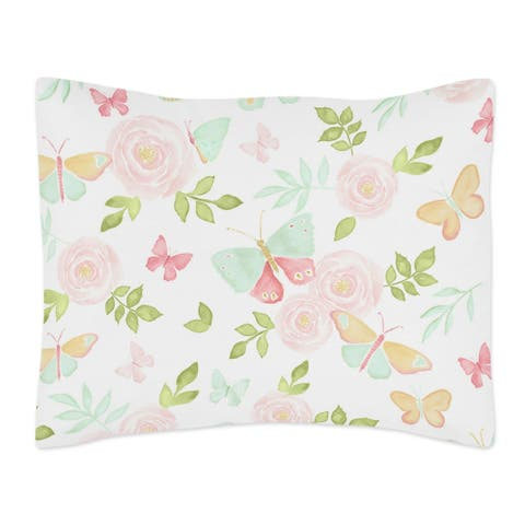 Sweet Jojo Designs Blush Pink, Mint and White Watercolor Rose Butterfly Floral Collection Standard Pillow Sham