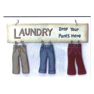 """Decorative Wooden Signs Drop Your Pants Here 8"""" x 5"""" - Brown"""