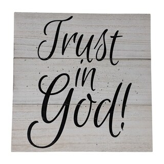 """Farmhouse Distressed Country Wood Sign Trust In God 12"""" x 12"""" x 1"""" - Black"""
