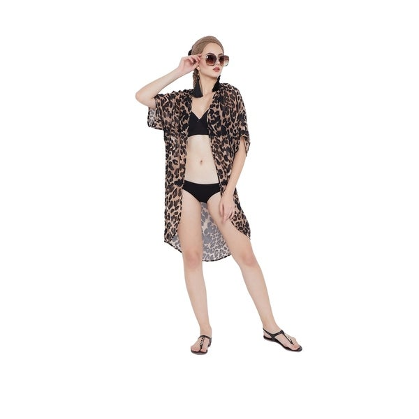 55ff4fb7942ce Shop Black Women Beach Swimsuit Leopard Print Kimono Bikini Cover Up ...
