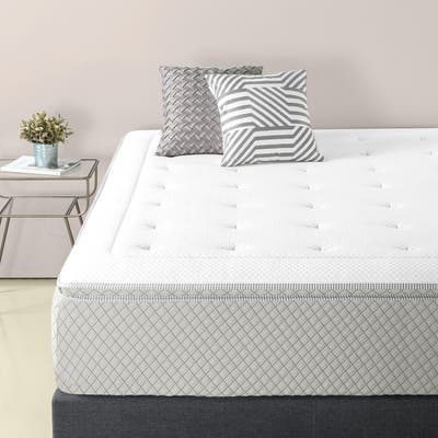 Priage by ZINUS 2.5 Inch Green Tea Pressure Relief Memory Foam Mattress Topper with Fitted Cover - White