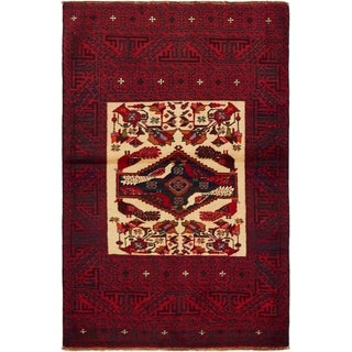Hand Knotted Balouch Wool Area Rug - 3' 3 x 5'