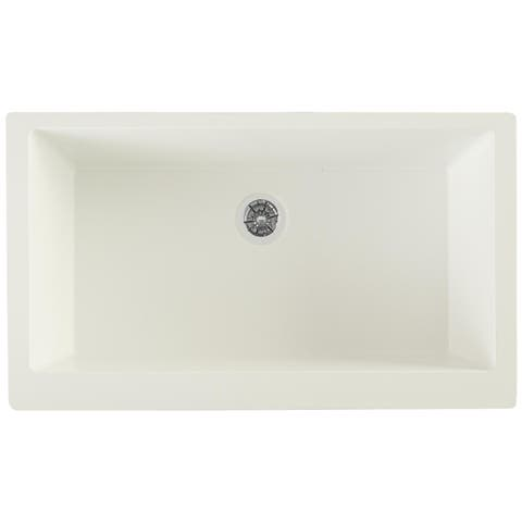 "Elkay Quartz Luxe 35-7/8"" x 20-15/16"" x 9"" Single Bowl Farmhouse Sink with Perfect Drain, Ricotta"