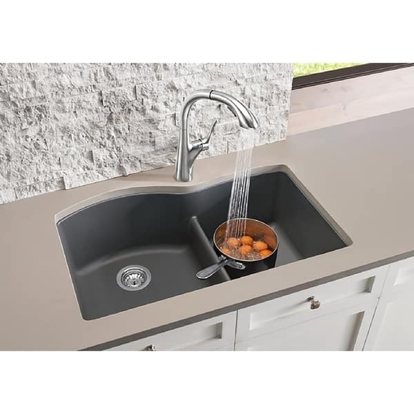 Blanco SILGRANIT Granite Composite Sink DIAMOND 1-3/4 Bowl with Low-Divide  White
