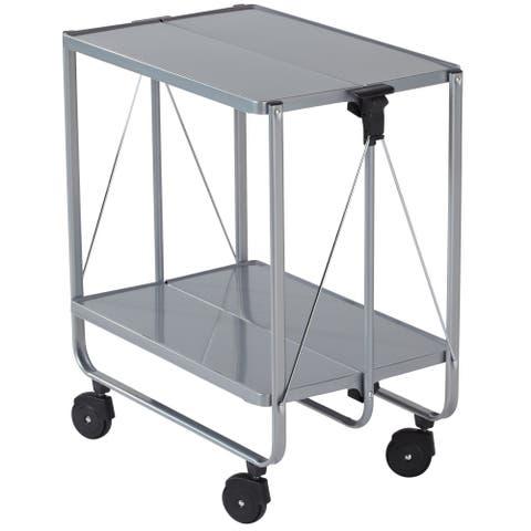 LEIFHEIT Fold-Up Side Car Storage & Service Trolley Cart Silver