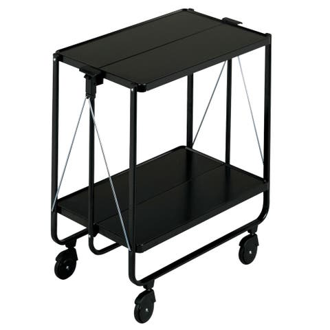 LEIFHEIT Fold-Up Side Car Storage & Service Trolley Cart Black