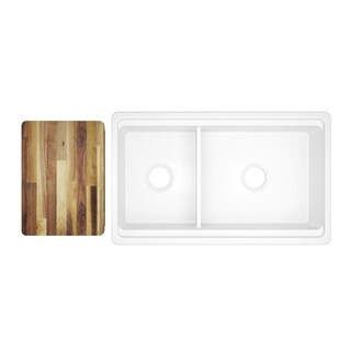 """Elkay Fireclay 33"""" x 20"""" x 10-1/8"""" 60/40 Double Bowl Farmhouse Sink White with Aqua Divide"""