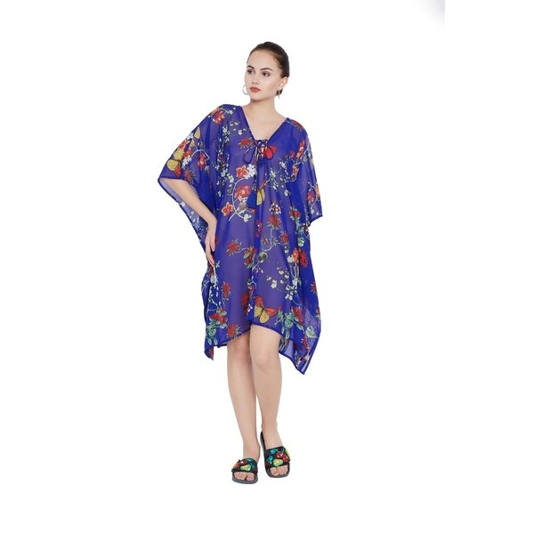 19d9383a5faa5 Royal Blue Floral Tassel Beach Dress Bikini Cover Up Women Bathingsuit