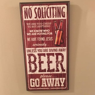 """Decorative Wooden Signs No Solicting Unless Giving Beer 7"""" x 14"""" - Red"""