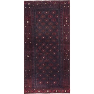 Hand Knotted Balouch Semi Antique Wool Runner Rug - 3' 3 x 6' 7