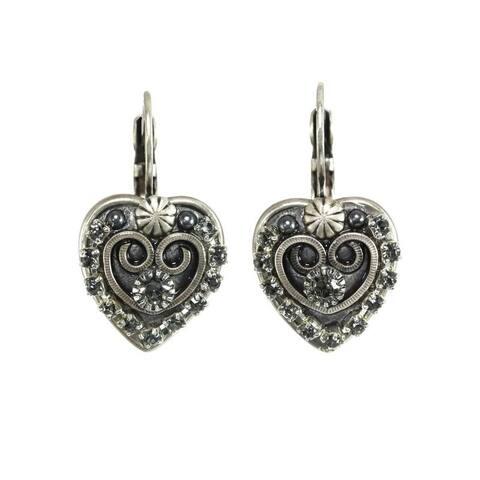 Handmade Victorian Crystal Heart Earrings (USA) by Michal Golan - Black