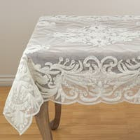 Beaded With Embroidery Sheer Scalloped Tablecloth