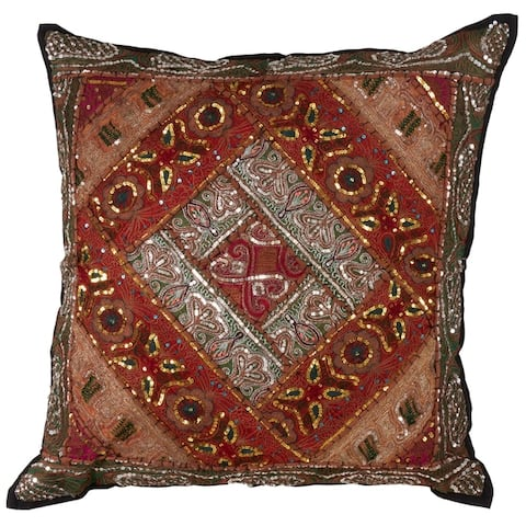 "Handmade Sari ""Sitara"" Down Filled Cotton Throw Pillow"