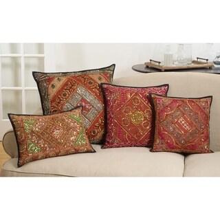 "Down Filled Cotton Throw Pillow With Handmade Sari ""Sitara"" Design"